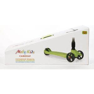 Самокат Moby Kids складной управление наклоном зеленый (64632)