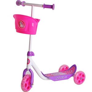 Самокат Moby Kids Кроха с корзиной розовый (64639)