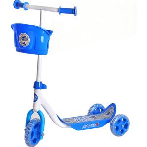 Самокат 3-х колесный Moby Kids кроха с корзиной синий (64640) стоимость