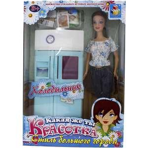 Набор мебели 1Toy Красотка с куклой холодильник Т54496 1toy с мебелью 187 деталей красотка