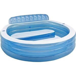 Надувной бассейн Intex семейный с сиденьем и спинкой с57190 тент на бассейн intex семейный 58412