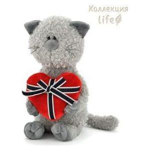 Игрушка мягкая Оранж Кот Обормот с сердцем (OS080/45) кот обормот на прогулке 25