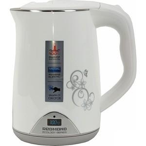 Чайник электрический Redmond RK-M125D, белый с цветами