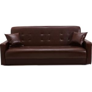 Диван Стоффмебель (ЛМФ) Аккорд тёмно-коричневый с бежевой отстрочкой шатура диван аккорд экокожа коричневый 2 подушки в подарок