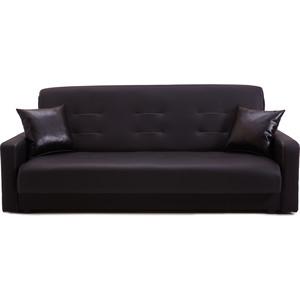 Диван Стоффмебель (ЛМФ) Аккорд чёрный с белой отстрочкой шатура диван аккорд экокожа черный с белой отстрочкой 2 подушки в подарок