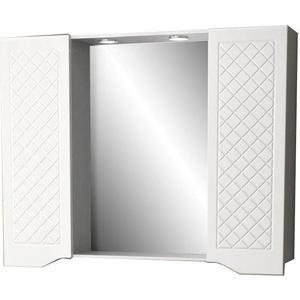Фото - Зеркальный шкаф Меркана Мадрид 105 см, 2 шкафа по бокам, с точечными светильниками, выключатель с розеткой, белый (30646) зеркало меркана виттория 82 см 2 шкафа по бокам свет розетка выключатель 27666