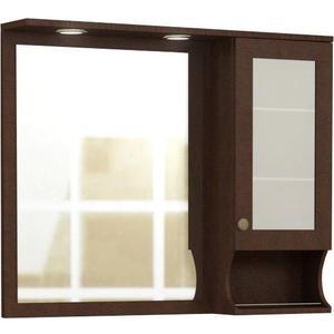 Зеркальный шкаф Меркана Эйфория 105 см, шкаф справа, с точечным светильником выключатель с розеткой, коричневый с рисунком (30652) зеркальный шкаф меркана толедо 60см шкаф справа свет розетка белый 27647