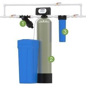 Установка для обезжелезивания и умягчения воды Гейзер WS1044/WS1CI (Экотар В) с автоматической промывкой по расходу