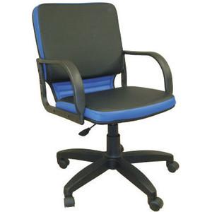 Кресло Союз мебель Элит ТГ экокожа черно-синяя