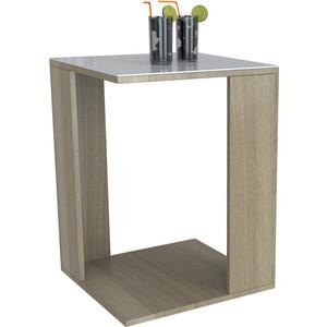 Стол журнальный Мебелик BeautyStyle 14 сонома/стекло белое