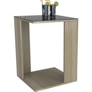 Стол журнальный Мебелик BeautyStyle 14 сонома/стекло черное