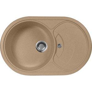 Мойка кухонная AquaGranitEx M-18S 780х500 песочный (M-18S 302) кольца proms от 18s с позолоченными кольцами из 18s с бриллиантами
