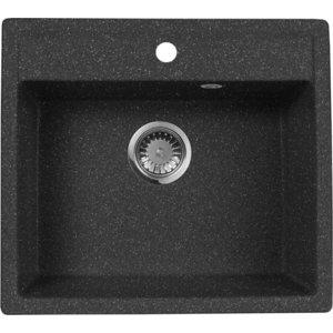 Мойка кухонная AquaGranitEx M-56 560х500 черный (M-56 308) цена