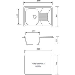 Мойка кухонная AquaGranitEx M-70 700х500 черный (M-70 308)