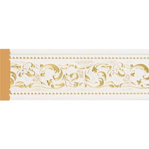 цена на Молдинг Decomaster Белый с золотом цвет 54 80х12х2400 мм (150-54)