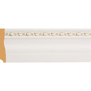 Плинтус напольный Decomaster Белый с золотом цвет 54 95х12х2400 мм (153-54)