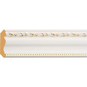 Плинтус Decomaster Белый с золотом цвет 54 76х76х2400 мм (154-54) decomaster потолочный плинтус карниз decomaster 154 937 размер 76х76х2400