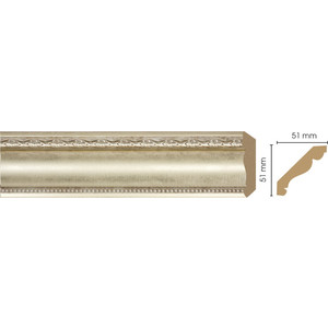 Плинтус Decomaster Матовое серебро цвет 937 51х51х2400 мм (155-937) decomaster потолочный плинтус карниз decomaster 154 937 размер 76х76х2400