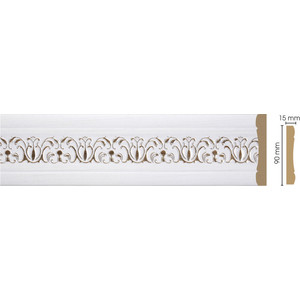 Молдинг Decomaster Дуб белый с золотом цвет 118 90х12х2400 мм (163-118)