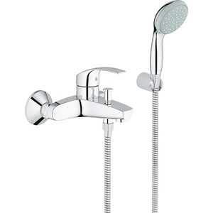 Смеситель для ванны Grohe Eurosmart New  с душевым гарнитуром (33302002) смеситель для ванны grohe eurosmart new с душевым набором настенный держатель ручной душ хром