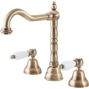 Смеситель Cezares First для раковины на 3 отверстия с донным клапаном, бронза, ручки белые (First-BLS2-02-Bi) смеситель cezares first для раковины на 3 отверстия с донным клапаном золото ручки металл first bls2 03 m