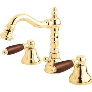 Смеситель Cezares First для биде на 3 отверстия, с донным клапаном, золото, ручки Орех (First-BBS2-03-Nc) смеситель cezares lord для биде с донным клапаном lord bs2 01