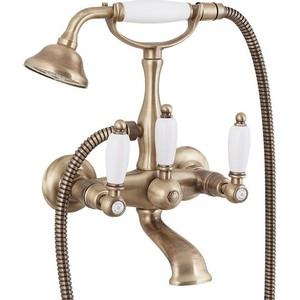 где купить Смеситель Cezares First для ванны, с ручным душем, бронза, ручки Белые (First-VD-02-Bi) дешево