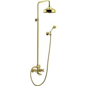 Душевая система Cezares Retro со смесителем для ванны, верхним и ручным душем, золото (Retro-CVD2-03)