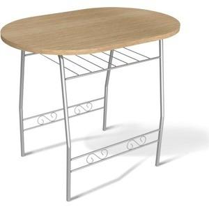 Стол Sheffilton SHT-T10 дуб беленый/серебро маленький круглый стеклянный стол на кухню кубика шанхай к стекло темно коричневое беленый дуб