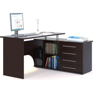 Компьютерный стол СОКОЛ КСТ-109П венге компьютерный стол сокол кст 04 1в кн 24в венге
