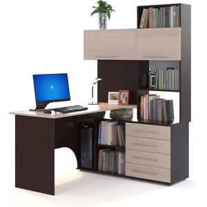 Компьютерный стол СОКОЛ КСТ-14П венге/беленый дуб компьютерный стол сокол кст 107 1 кн 24 венге