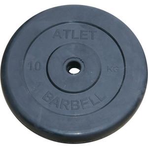 Диск обрезиненный Atlet 31 мм, 10 кг черный ковёр борцовский atlet 12х12 м основа ппэ нпэ экв пвв 140 кг м3 толщина 5 см imp a457