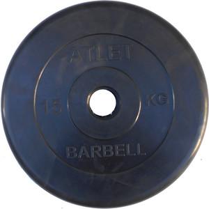 Диск обрезиненный Atlet 51 мм, 15 кг черный ковёр борцовский atlet 12х12 м основа ппэ нпэ экв пвв 140 кг м3 толщина 5 см imp a457