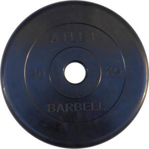 Диск обрезиненный Atlet 51 мм, 20 кг черный ковёр борцовский atlet 12х12 м основа ппэ нпэ экв пвв 140 кг м3 толщина 5 см imp a457