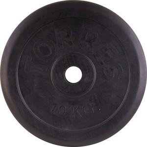 Диск обрезиненный Torres 10 кг (d.25 мм, металл в резиновой оболочке, черный)