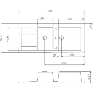 Мойка кухонная Акватон Торина 115x20,x50,1 см светло-бежевая (120-M.03.060) от ТЕХПОРТ