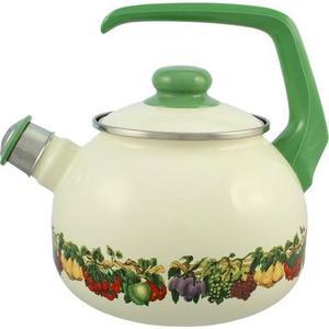 Чайник эмалированный со свистком 2.5 л Metrot Таково Фруктовый сад (107112)