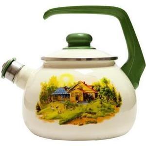 Чайник эмалированный со свистком 2.5 л Metrot Таково Домик в деревне (111595) кастрюля с крышкой metrot домик в деревне