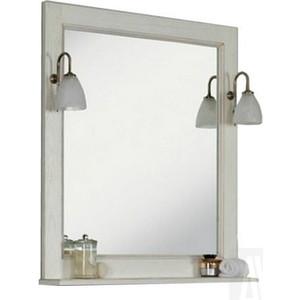 Зеркало для ванной Акватон Жерона 85 полка, белое серебро (1A158702GEM20) пенал для ванной aquaton жерона левосторонний белое серебро