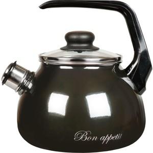 Чайник эмалированный со свистком 2.0 л Vitross Bon Appetit (1RA12 мокрый асфальт) кастрюля эмалированная 4 0 л vitross bon appetit 8sd205s вишневый