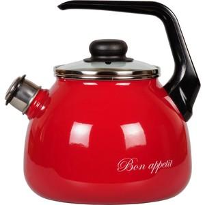 Чайник эмалированный со свистком 3.0 л Vitross Bon Appetit (1RC12 вишневый) набор кастрюль 3 предмета vitross bon appetit 15 8db155s вишневый