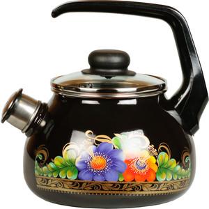 Чайник эмалированный со свистком 2.0 л СтальЭмаль Вологда (4с210я) чайник стальэмаль цветочный 2 л со свистком