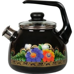 Чайник эмалированный со свистком 3.0 л СтальЭмаль Вологда (4с209я) чайник стальэмаль цветочный 2 л со свистком