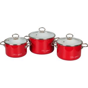 Набор кастрюль 3 предмета Vitross Bon Appetit №13 (8DB135S вишневый) набор кастрюль 3 предмета vitross bon appetit 15 8db155s вишневый