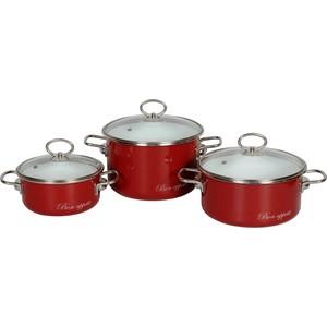 Набор кастрюль 3 предмета Vitross Bon Appetit №15 (8DB155S вишневый) набор кастрюль 3 предмета vitross limon 1db135s