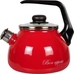 Чайник эмалированный со свистком 2.0 л Vitross Bon Appetit (1RA12 вишневый) кастрюля эмалированная 4 0 л vitross bon appetit 8sd205s вишневый