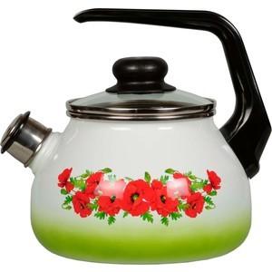 Чайник эмалированный со свистком 2.0 л СтальЭмаль Восточный мак (4с210я) чайник стальэмаль цветочный 2 л со свистком