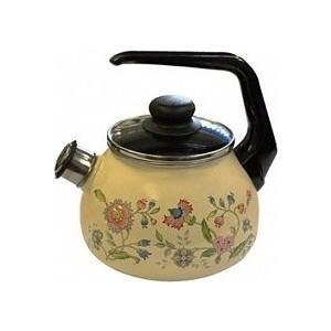 Чайник эмалированный со свистком 2.0 л СтальЭмаль Луговые цветы (4с210я) чайник стальэмаль цветочный 2 л со свистком