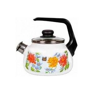 Чайник эмалированный со свистком 2.0 л СтальЭмаль Цветочный (4с210я) чайник стальэмаль цветочный 2 л со свистком