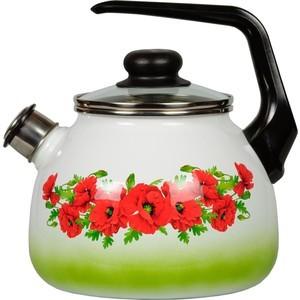 Чайник эмалированный со свистком 3.0 л СтальЭмаль Восточный мак (4с209я) чайник стальэмаль цветочный 2 л со свистком